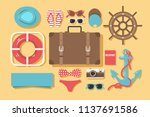 icons for summer vacations. cap ... | Shutterstock .eps vector #1137691586