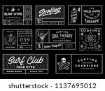 white on black surf badges vol. ... | Shutterstock .eps vector #1137695012
