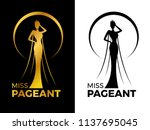 miss lady pageant logo sign... | Shutterstock .eps vector #1137695045