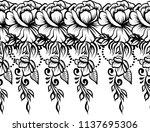 ethnic indian line art border | Shutterstock .eps vector #1137695306