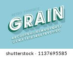 retro scratched 3d display font ... | Shutterstock .eps vector #1137695585