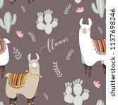 seamless pattern with lama in... | Shutterstock .eps vector #1137698246
