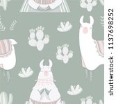 seamless pattern with lama in... | Shutterstock .eps vector #1137698252