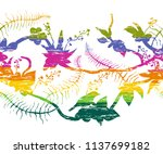 seamless border with tropical... | Shutterstock .eps vector #1137699182
