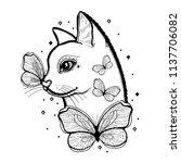 sketch graphic illustration cat ... | Shutterstock .eps vector #1137706082