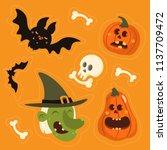 cute vector set with halloween... | Shutterstock .eps vector #1137709472