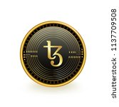 tezos cryptocurrency black coin ... | Shutterstock .eps vector #1137709508