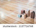 wood house model on  wood... | Shutterstock . vector #1137716768