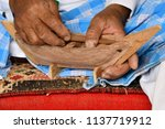 carpenter at work. hands of a... | Shutterstock . vector #1137719912
