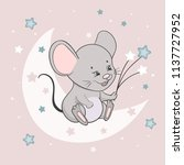 cute little mouse on the moon.... | Shutterstock .eps vector #1137727952