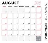 calendar planner for august... | Shutterstock .eps vector #1137734072