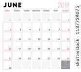calendar planner for june 2019. ... | Shutterstock .eps vector #1137734075