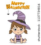 baby girl dressed up as a witch ... | Shutterstock .eps vector #1137734816