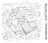 halloween concept. hand drawn... | Shutterstock .eps vector #1137744746