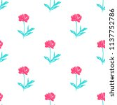 simple hand drawn flowers print | Shutterstock .eps vector #1137752786