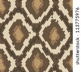 Snake skin brown and beige natural seamless pattern - stock vector