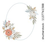 painted frame with flowers and... | Shutterstock . vector #1137761588