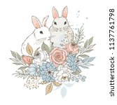 two little rabbits and bouquet... | Shutterstock . vector #1137761798