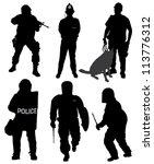 Policeman Silhouette On White...