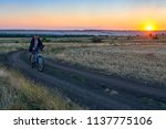 man ride a bike in the country...   Shutterstock . vector #1137775106