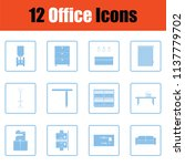 office furniture icon set. blue ... | Shutterstock .eps vector #1137779702