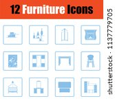 home furniture icon set. blue... | Shutterstock .eps vector #1137779705