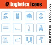 logistics icon set. blue frame... | Shutterstock .eps vector #1137779708