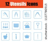 utensils icon set. blue frame... | Shutterstock .eps vector #1137780515