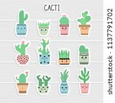 cute stickers set of cacti and... | Shutterstock .eps vector #1137791702