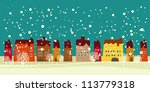 christmas card with cute little ... | Shutterstock .eps vector #113779318