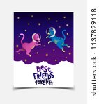 best friends forever. hand... | Shutterstock .eps vector #1137829118
