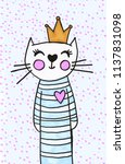 hand drawn cartoon cat princess | Shutterstock . vector #1137831098