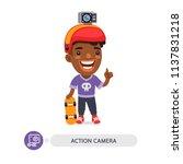 cartoon flat male african... | Shutterstock .eps vector #1137831218