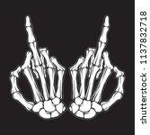 skeleton shows middle finger | Shutterstock .eps vector #1137832718