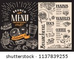 brunch restaurant menu. vector... | Shutterstock .eps vector #1137839255