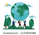 people hold the planet. concept ... | Shutterstock .eps vector #1137840488