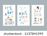 cute set for baby boy or baby... | Shutterstock .eps vector #1137841595