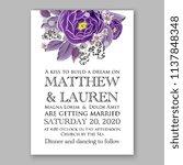 floral wedding invitation ... | Shutterstock .eps vector #1137848348