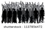 silhouettes of people standing... | Shutterstock .eps vector #1137856472