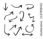 set of hand drawn doodle arrows ... | Shutterstock .eps vector #1137858452