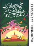 happy birthday cartoon funny... | Shutterstock .eps vector #1137873965