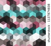 hexagon grid seamless vector... | Shutterstock .eps vector #1137874838