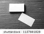 blank business cards on wooden... | Shutterstock . vector #1137881828