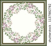 floral round frame from cute... | Shutterstock . vector #1137882782