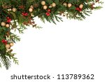 christmas seasonal  border of... | Shutterstock . vector #113789362