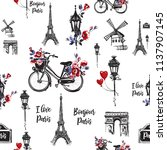 pattern with city bike with... | Shutterstock .eps vector #1137907145
