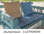 blue bamboo chair with comfort... | Shutterstock . vector #1137909095