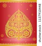 buddha statue in gold bodhi...   Shutterstock .eps vector #1137910448