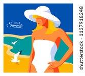 hello summer  holiday concept.... | Shutterstock .eps vector #1137918248
