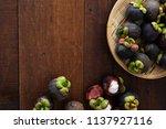 mangosteen tropical fruit with...   Shutterstock . vector #1137927116